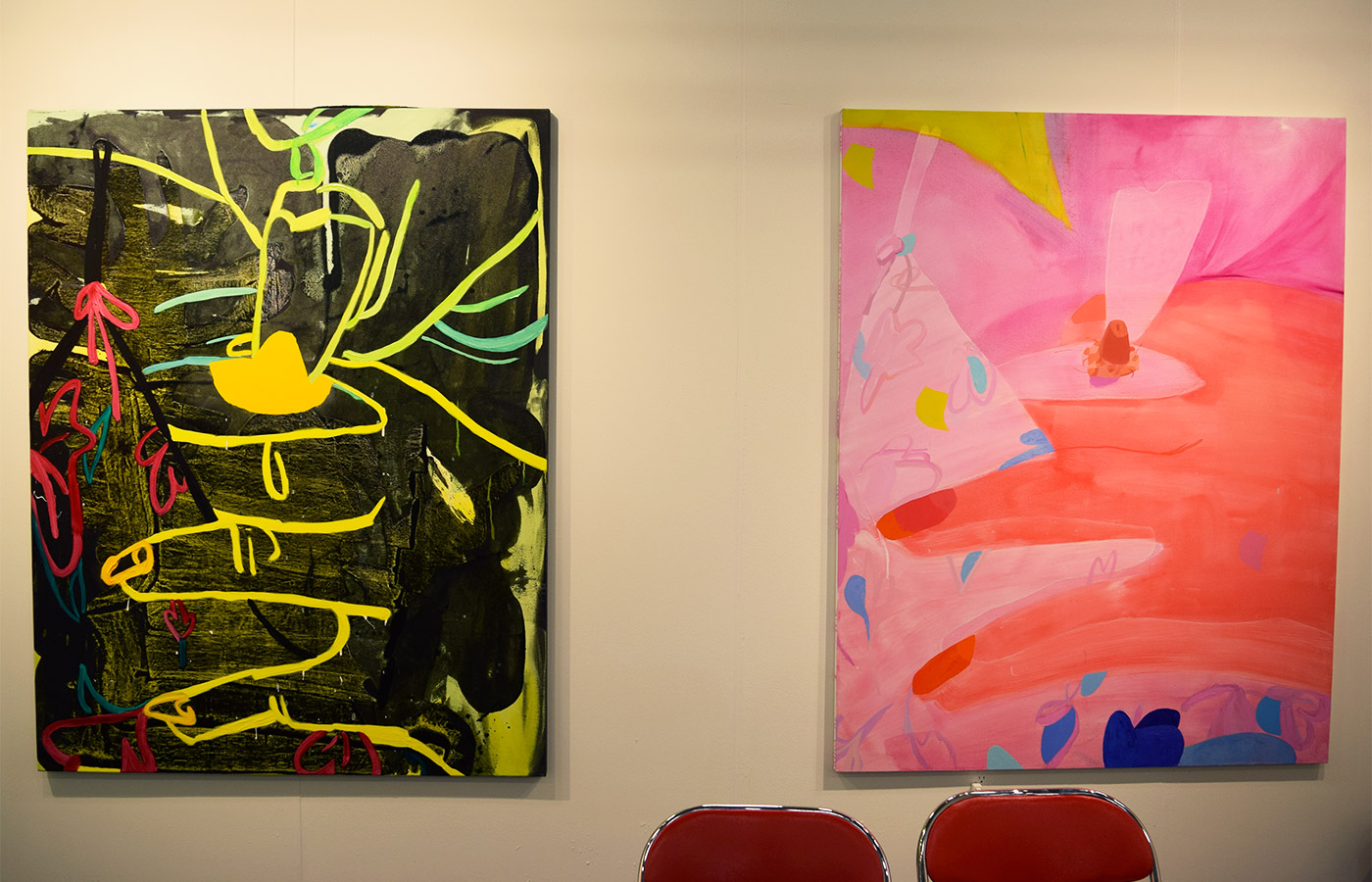 Paintings by Sarah Faux in Stems Gallery's booth