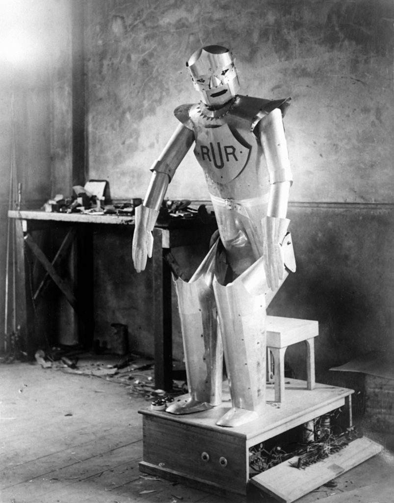 GOMSHALL, UNITED KINGDOM - 1928: Captain William Richards and Alan Herbert Reffell have designed and built a kinght-like robot named Eric and able to perform the same tasks as a human being in 1928, in Gomshall, United Kingdom.
