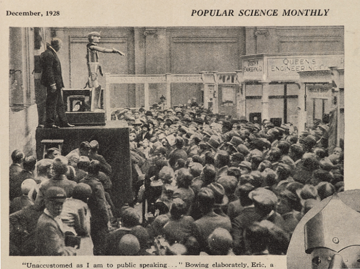 Eric the robot opening the 'Model Engineering Exhibition' in London, pictured in Popular Science Monthly (1928) (courtesy Science Museum)