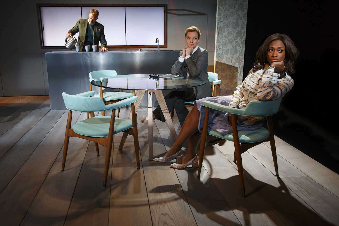 Left to right: Tim Daly, Orlagh Cassidy, and Rachael Holmes in Manhattan Theatre Club's 'The Ruins of Civilization' (photo © Joan Marcus, 2016; courtesy Manhattan Theatre Club)