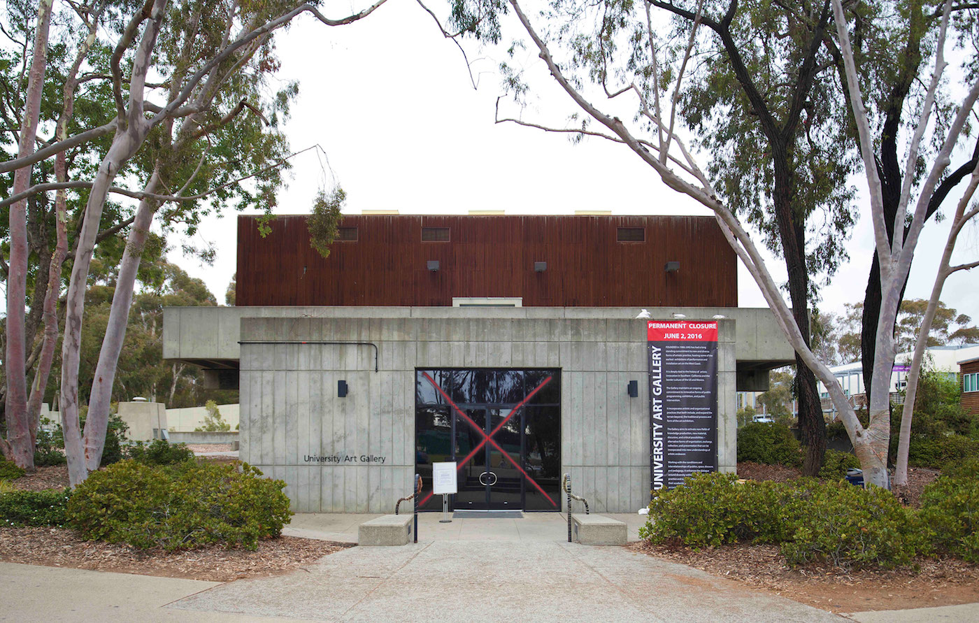 The exterior of the University Art Gallery at the University of California, San Diego, following an intervention by Collective Magpie (photo courtesy the artists)