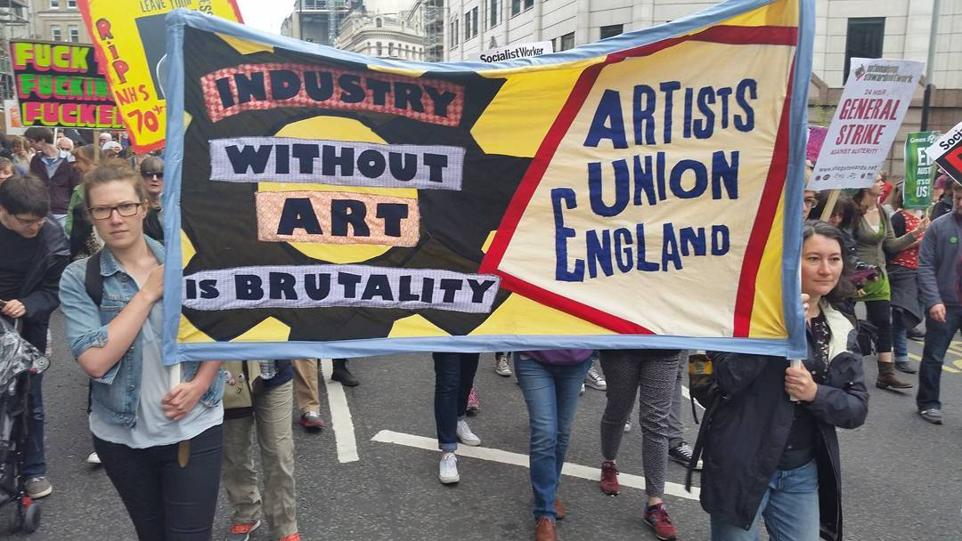 Artists' Union England during a march in February (photo via @hayleyhareart/Instagram)