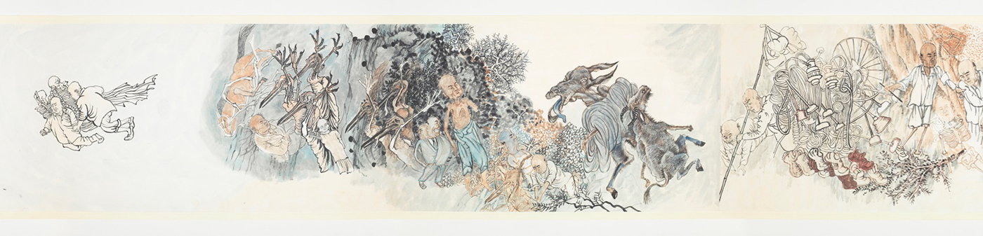 """Yun-Fei Ji, """"The Move of the Village Wen"""" (end detail, 2012), ink and mineral pigments on Xuan paper mounted on silk, 13 3/8 x 48 1/8 in (34 x 122.2 cm) (courtesy the artist and James Cohan, New York, ©Yun-Fei Ji) (click to enlarge)"""