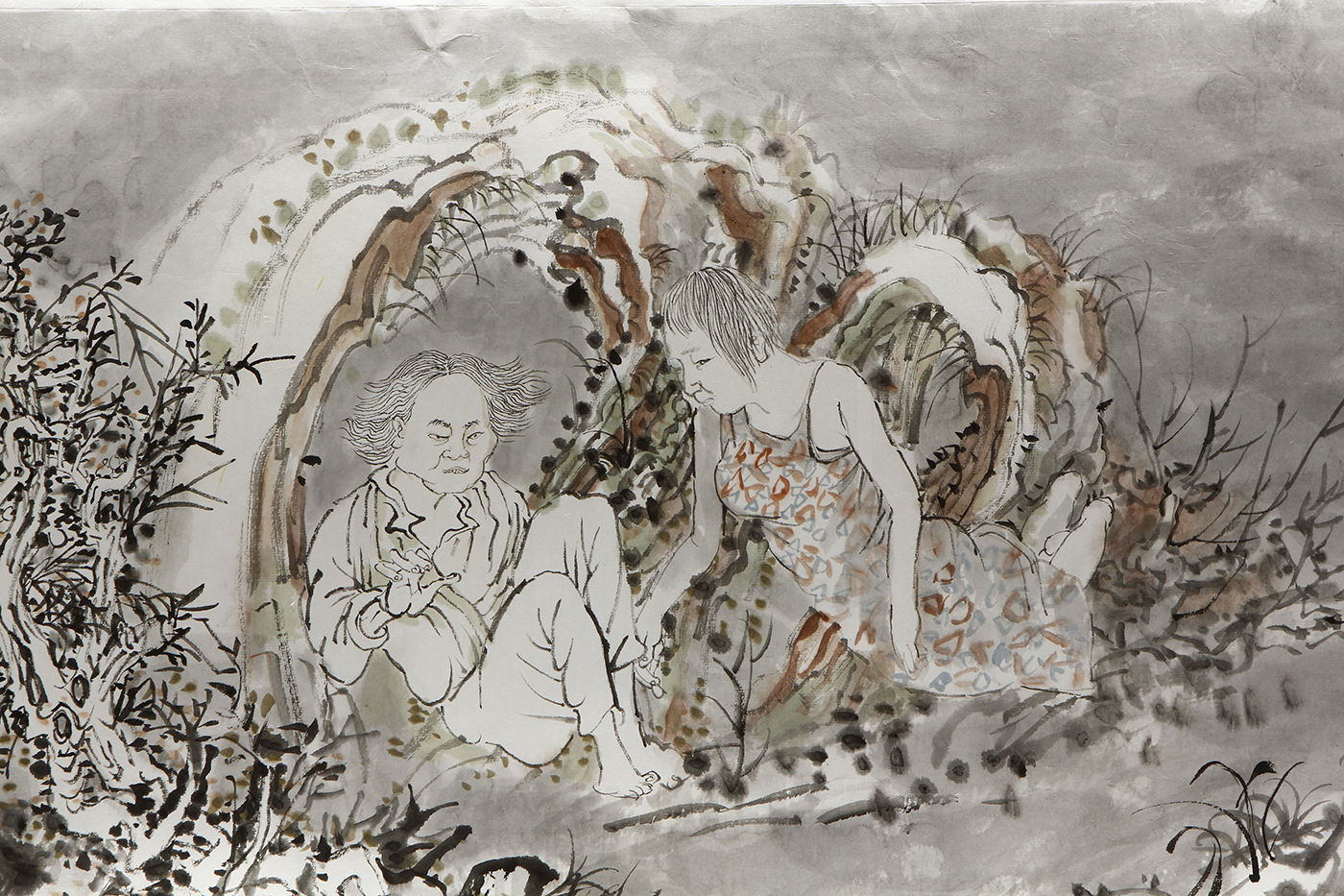 """Yun-Fei Ji, """"After the First Seventh Day"""" (detail, 2016), ink and watercolor on Xuan paper, suite of three scrolls: two measuring 17 in x 10 ft (43.2 cm x 3 m); one measuring 17 ½ x 15 ft (44.5 cm x 4.6 m) (courtesy the artist and James Cohan, New York) (photo by John Bentham, courtesy the Ruth and Elmer Wellin Museum of Art)"""