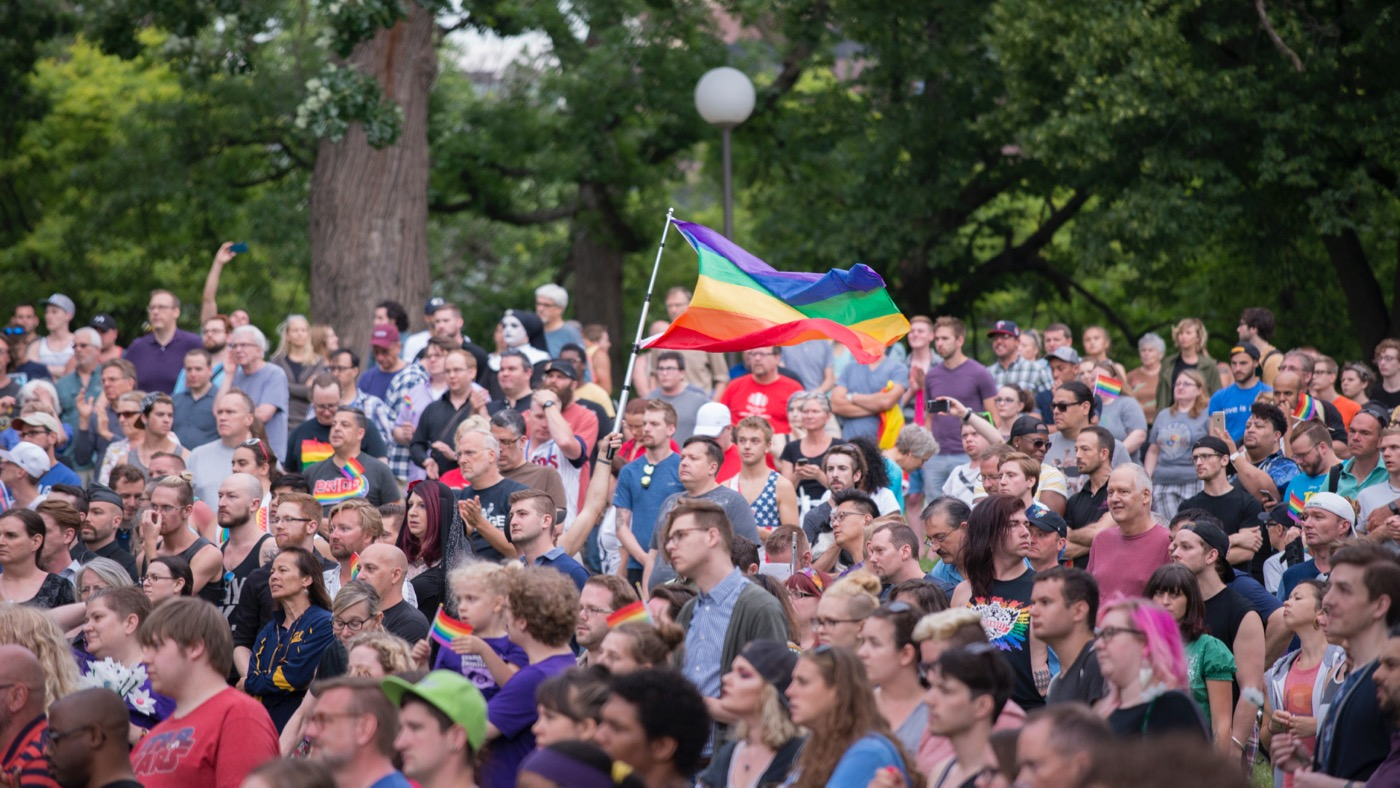 Around 3000 people gathered in Loring Park in Minneapolis to unite in the wake of the Orlando, Florida shooting in a gay nightclub