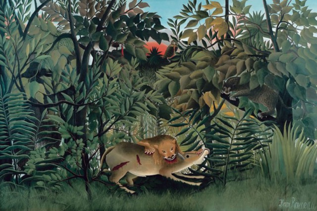 "Henri Rousseau, ""The Hungry Lion Attacking an Antelope"" (1898/1905), oil on canvas (photo by Robert Bayer, Basel)"