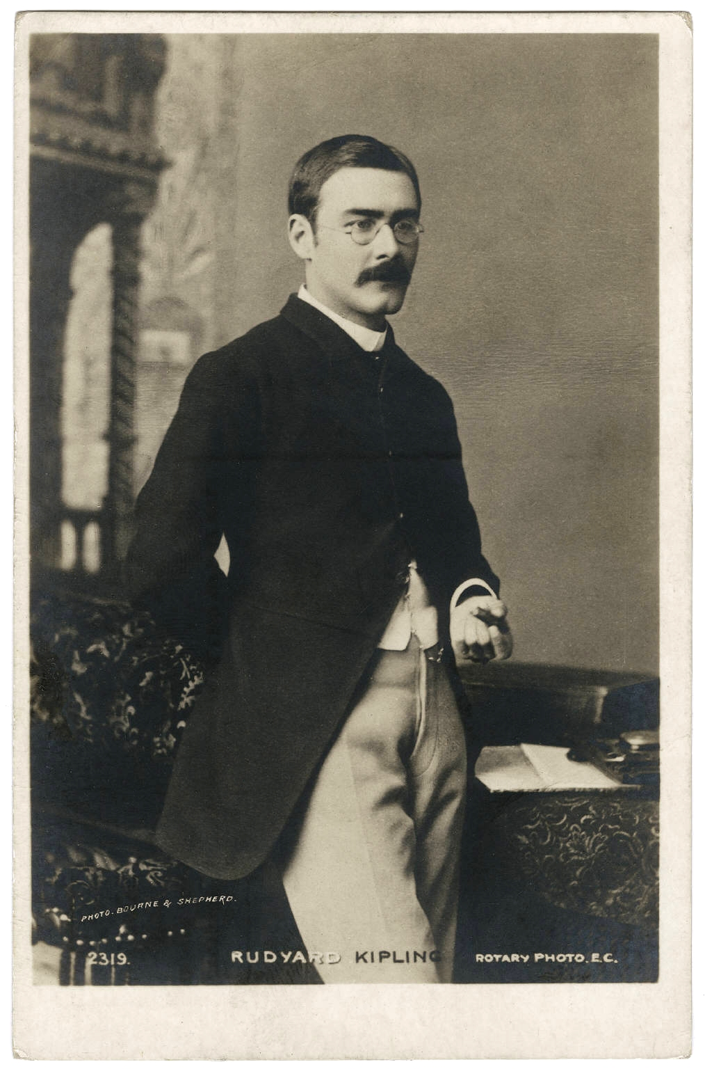 Bourne & Shepherd's photographic postcard portrait of Rudyard Kipling (courtesy of the Beinecke Rare Book & Manuscript Library, Yale University via Wikipedia Commons)