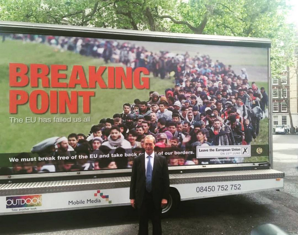 UKIP leader Nigel Farage standing in front of the poster concocted to encourage Britain to leave the EU. (Photo by echood94 via Instagram)