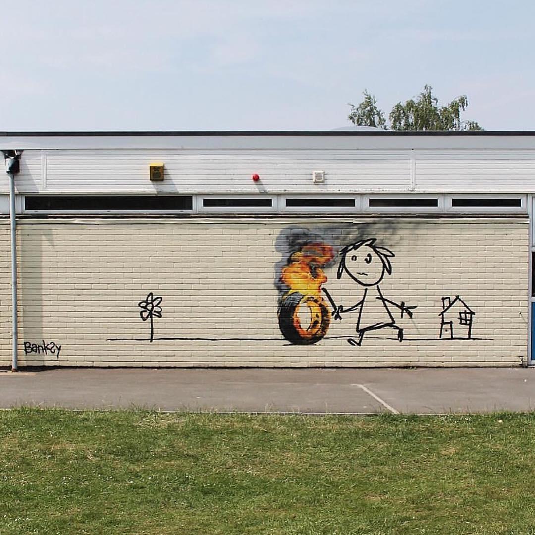 "Banksy's ""thank you"" mural to Bristol's Bridge Farm Primary School (photo via @banksyny/Instagram)"