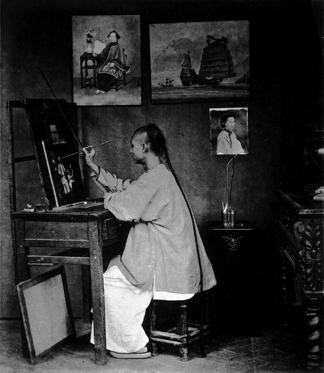 John Thomson's photograph of Guan Qiaochang Lamqua (19th century) (via Beinecke Rare Book & Manuscript Library/Wikimedia)