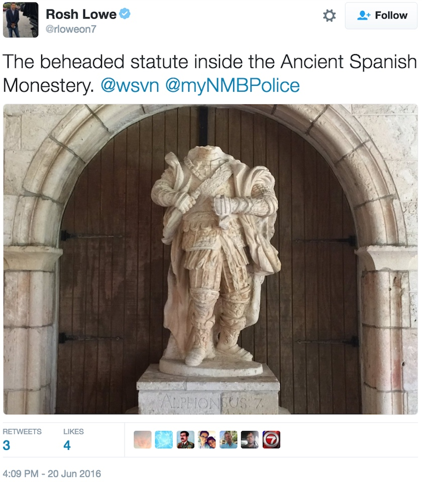 The beheaded statue at Miami Beach's Ancient Spanish Monastery (screenshot by the author via Twitter)