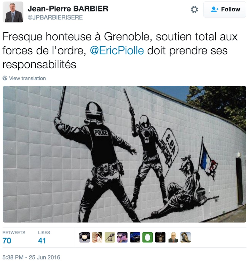 A mural by Goin in Grenoble caused sparked calls for censorship, but will remain in place. (screenshot by the author via Twitter)