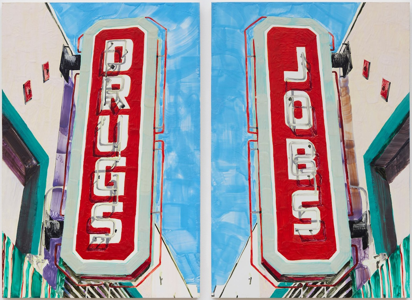 """Katie Herzog with Andrew Choate, """"DRUGS/JOBS"""" (2015), Encaustic on panel, 36 by 48 inches (via facebook)"""