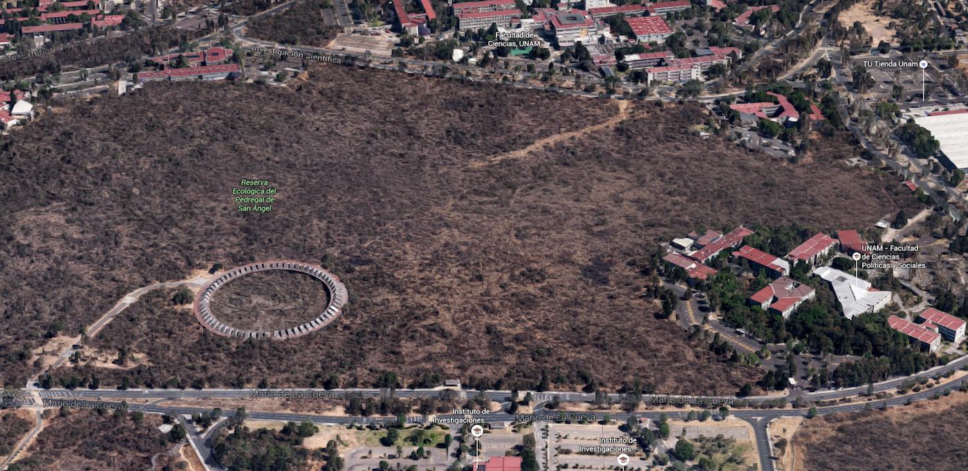 Aerial view of Espacio Escultórico (screenshot via Google Maps)