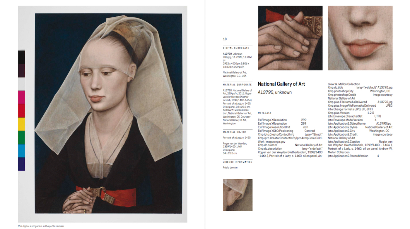 """A page from Display at Your Own Risk's catalog, detailing the information for """"A13790,"""" or Roger van der Weyden's """"Portrait of a Lady"""" (c. 1460) (click to enlarge)"""