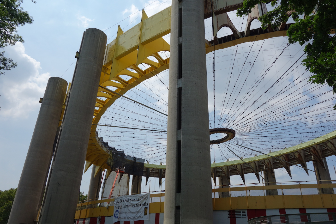 The New York State Pavilion being repainted in July 2015