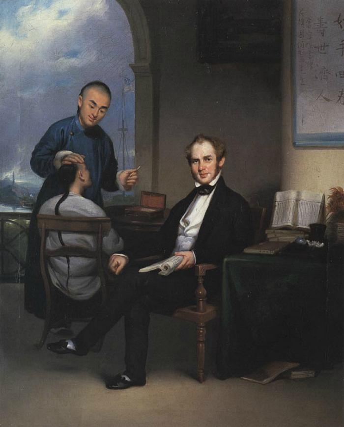 Guan Qiaochang Lamqua's portrait of Peter Parker (1840s) (via Wikimedia)