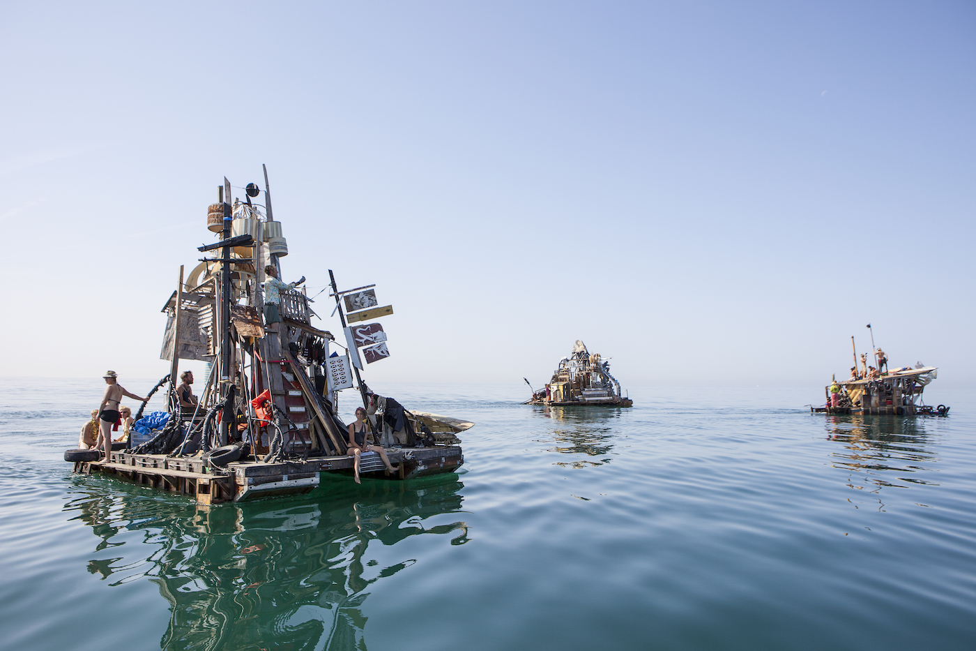 """Swoon, """"Swimming Cities of Serenissima"""" (2009), floating performance and installation (photo by Tod Seelie, courtesy the Parrish Art Museum)"""
