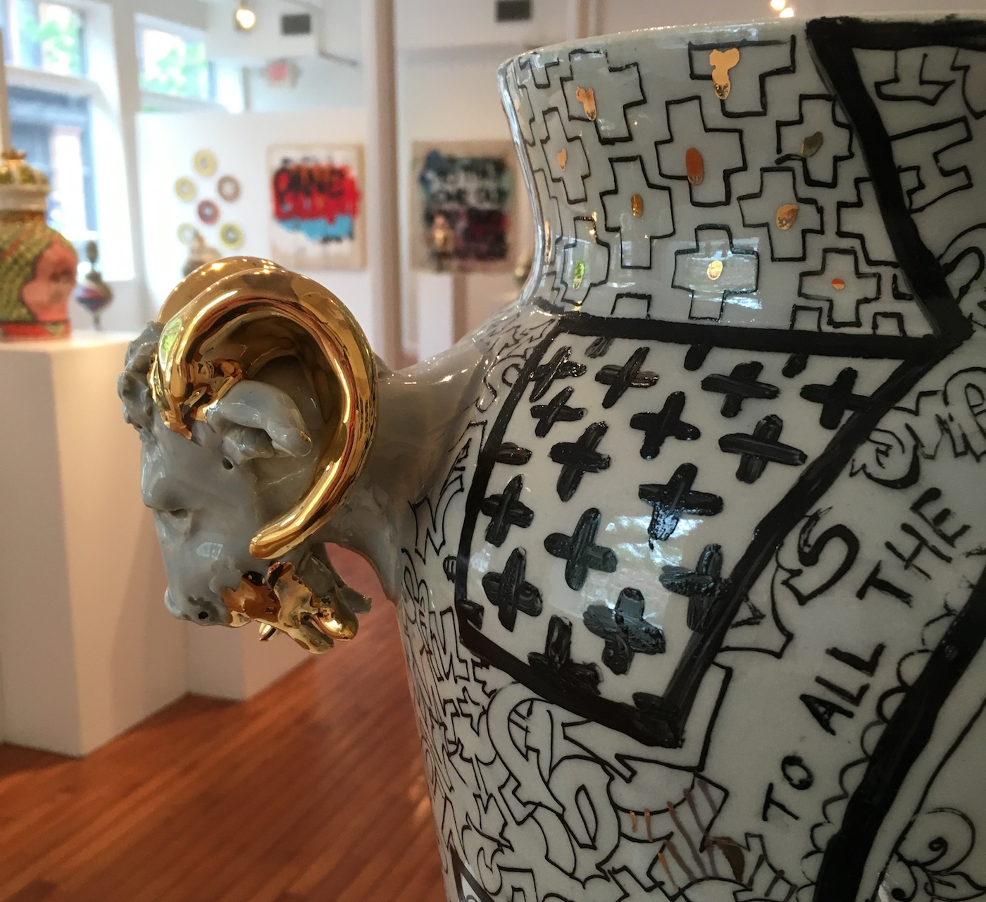 """Roberto Lugo, """"All about the Benjamins Century Vase"""" (2016, detail) (photo by the author for Hyperallergic)"""