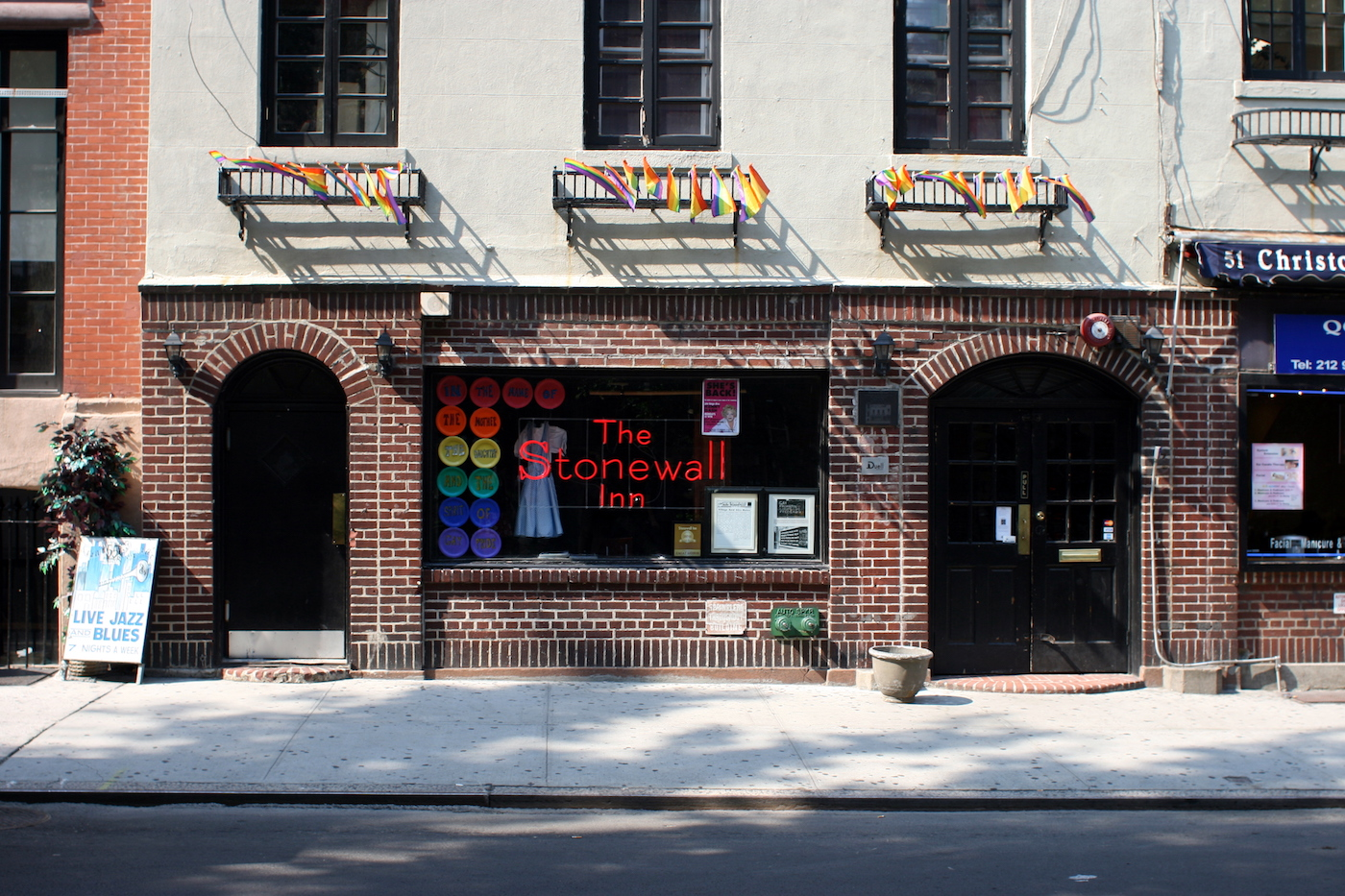 The Stonewall Inn on Christopher Street in Greenwich Village, as seen in August 2008 (photo by Johannes Jordan/Wikimedia)