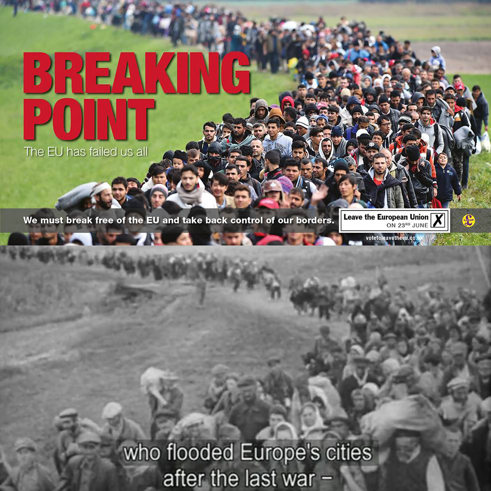 The offensive UKIP billboard compared to a still from the propaganda film produced by the Nazi regime. (illustration by Hyperallergic)