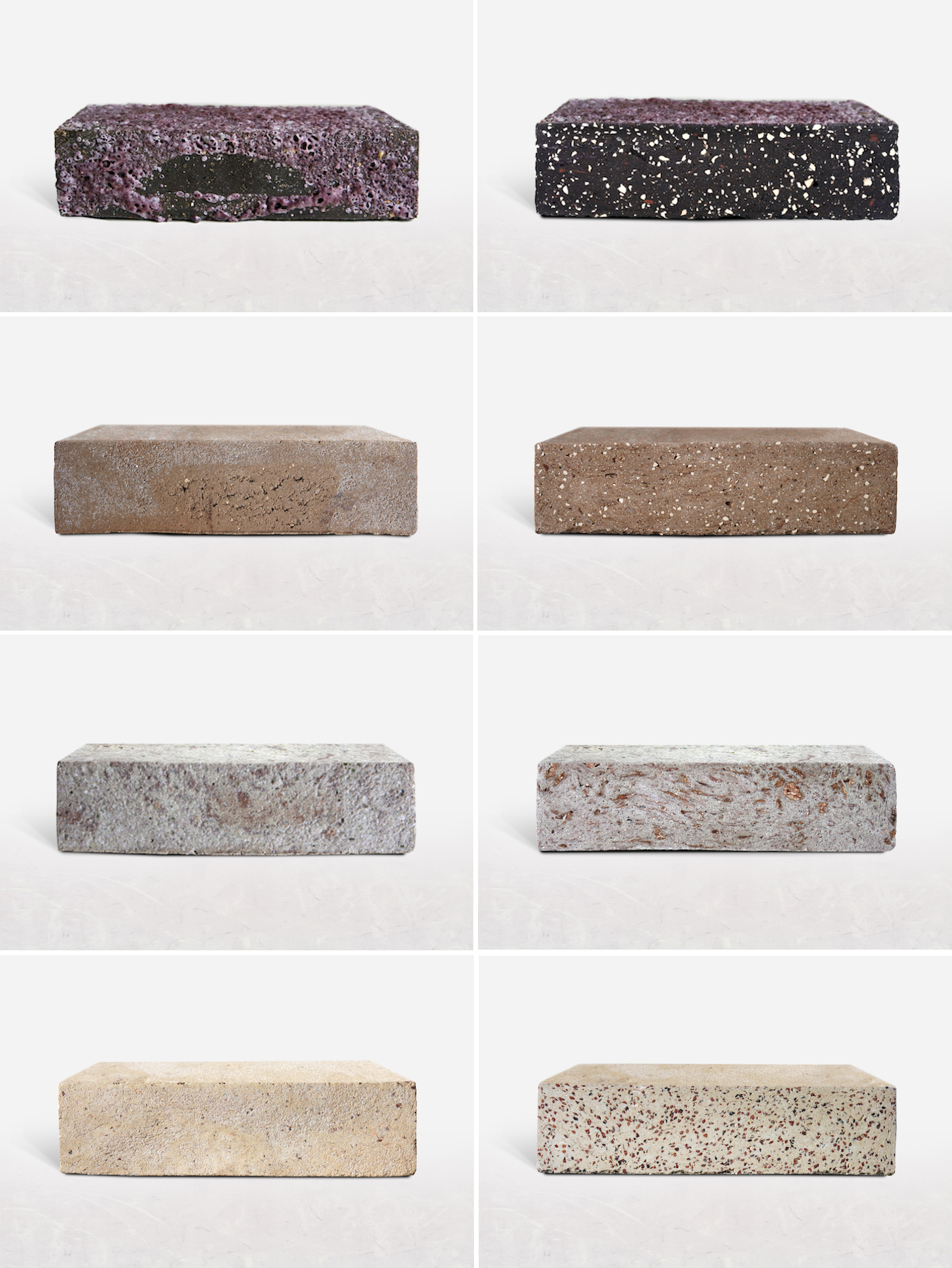 """""""Raw"""" and """"sliced"""" versions of the Aubergine, Caramel, Mushroom, and Nougat bricks (click to enlarge)"""