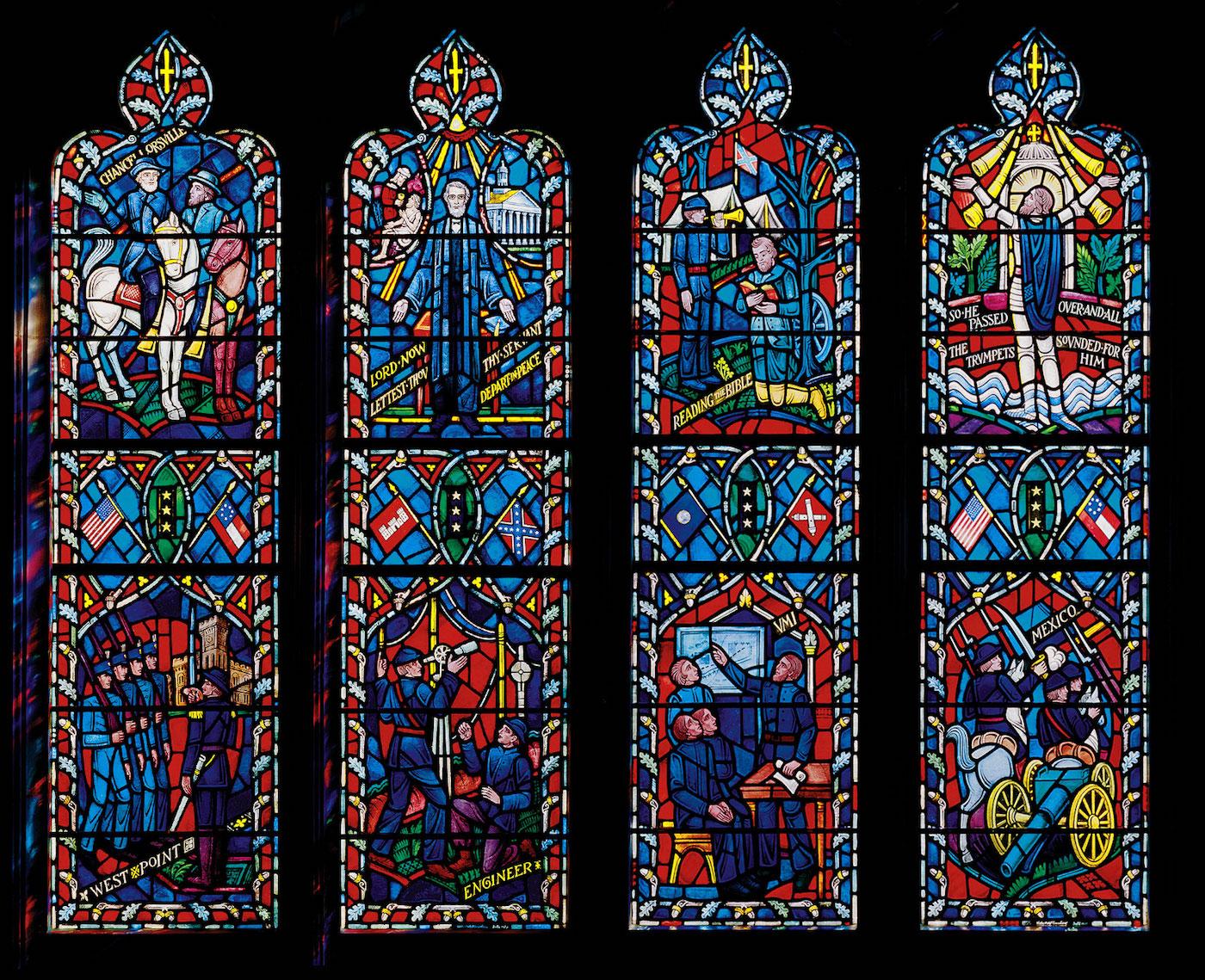 "Stained glass windows memorializing Robert E. Lee and Thomas ""Stonewall Jackson"" (photo courtesy Washington National Cathedral)"