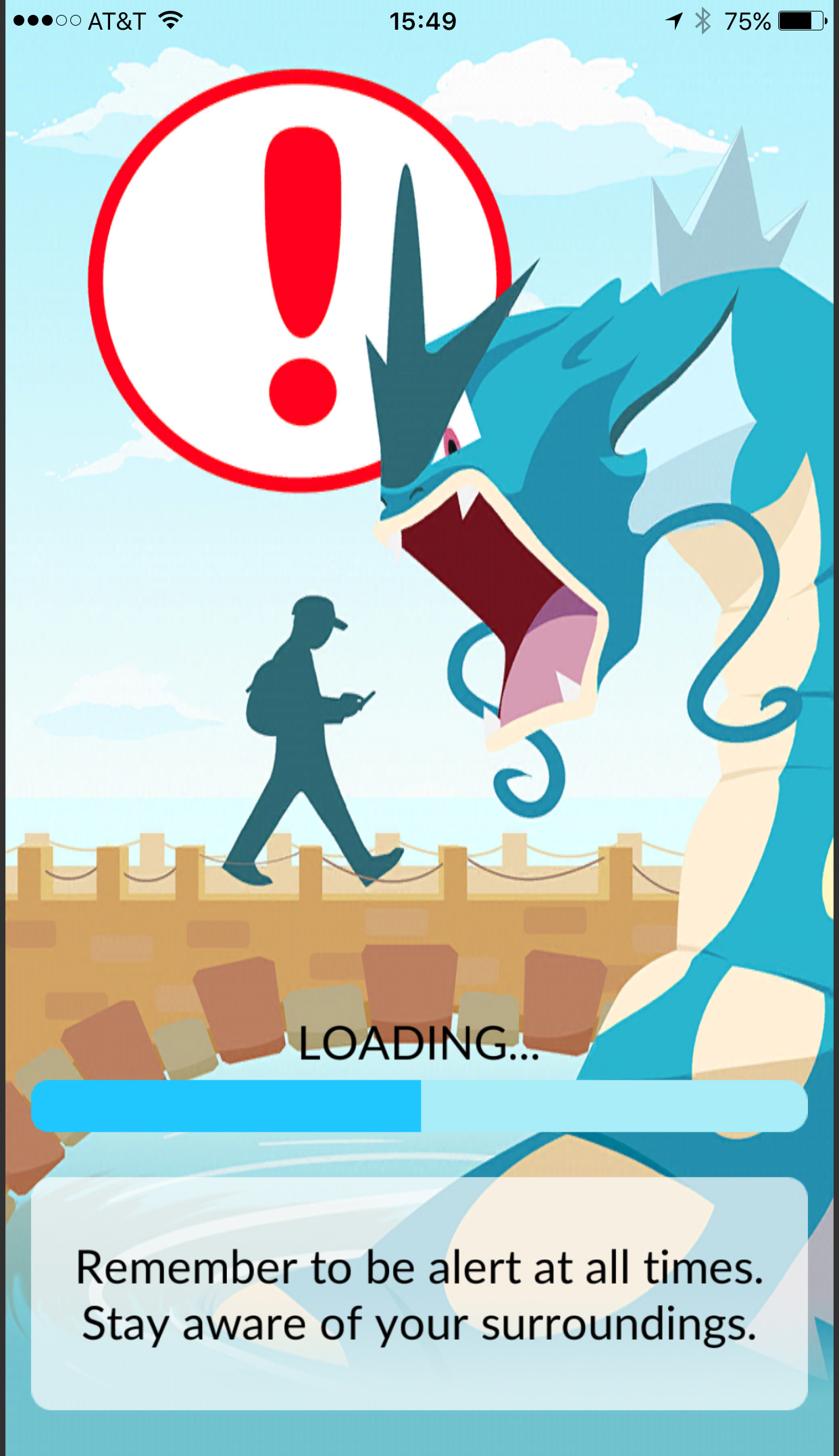 The warning screen that greets though who log into the Pokémon Go app. (screenshot by Hrag Vartanian/Hyperallergic)