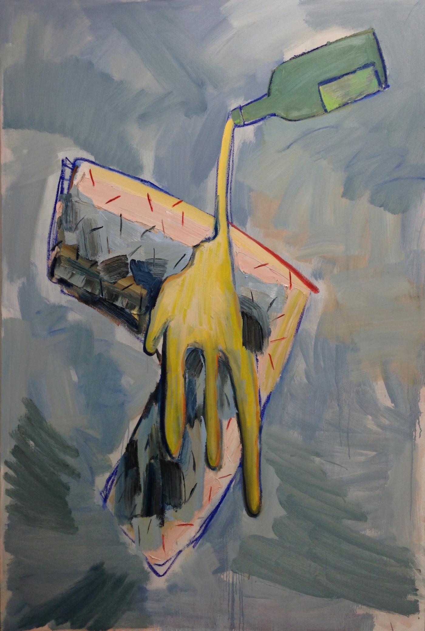 "Adam Novak, ""Beer, Leg"" Oil on canvas, 72 x 48 in., 2015"