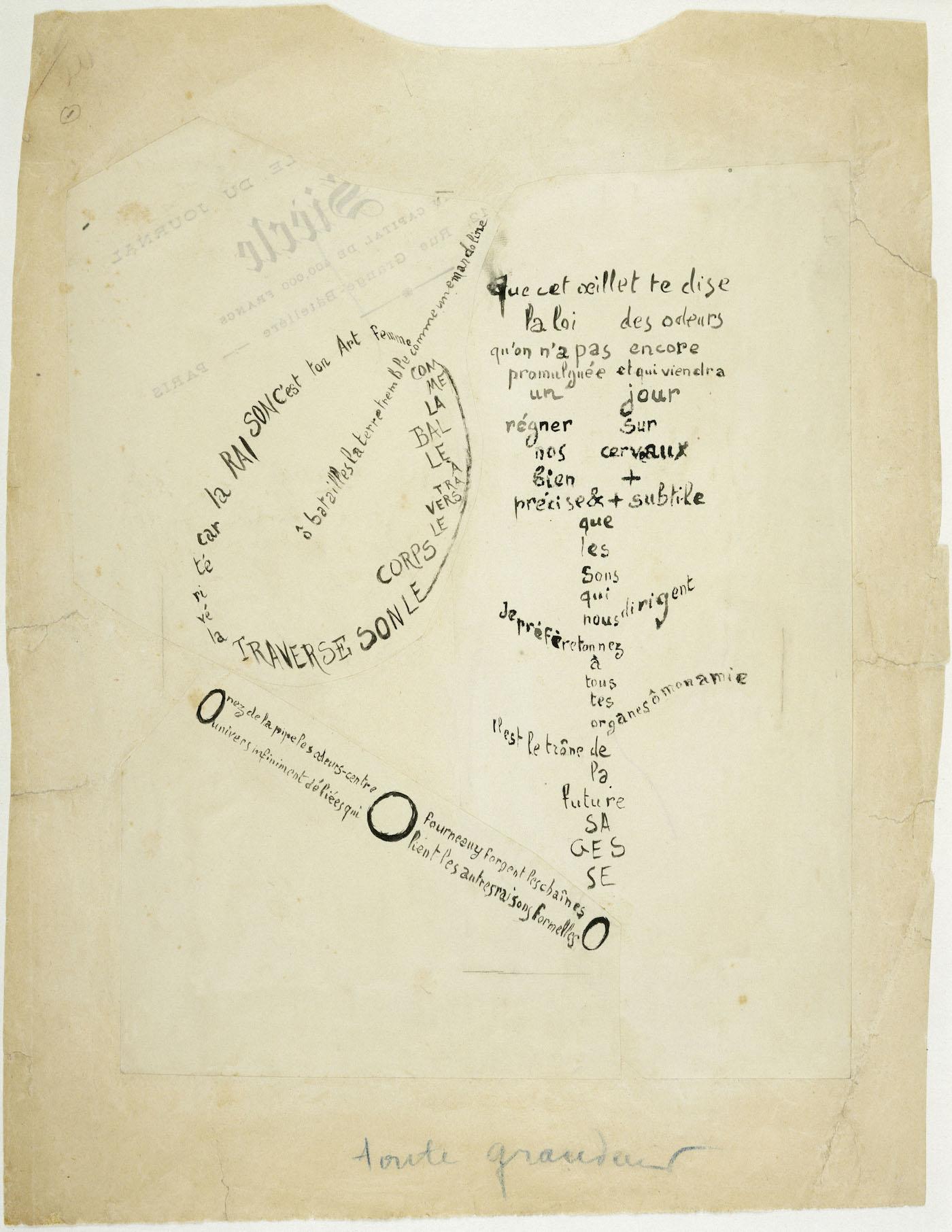"""Guillaume Apollinaire, """"La Mandoline, l'Œillet et le Bambou,"""" calligram from the series 'Étendards' (1914–15), ink on threee pieces of paper, Paris, Musée National d'Art Moderne—Centre Georges Pompidou (© Centre Pompidou, MNAM-CCI, Dist. RMN-Grand Palais / Adam Rzepka)"""
