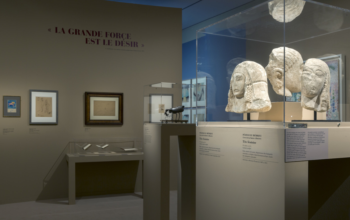 Installation view of 'Apollinaire, le regard du poète' at the Musée de l'Orangerie (© Musée de l'Orangerie, photo by Sophie Boegly)