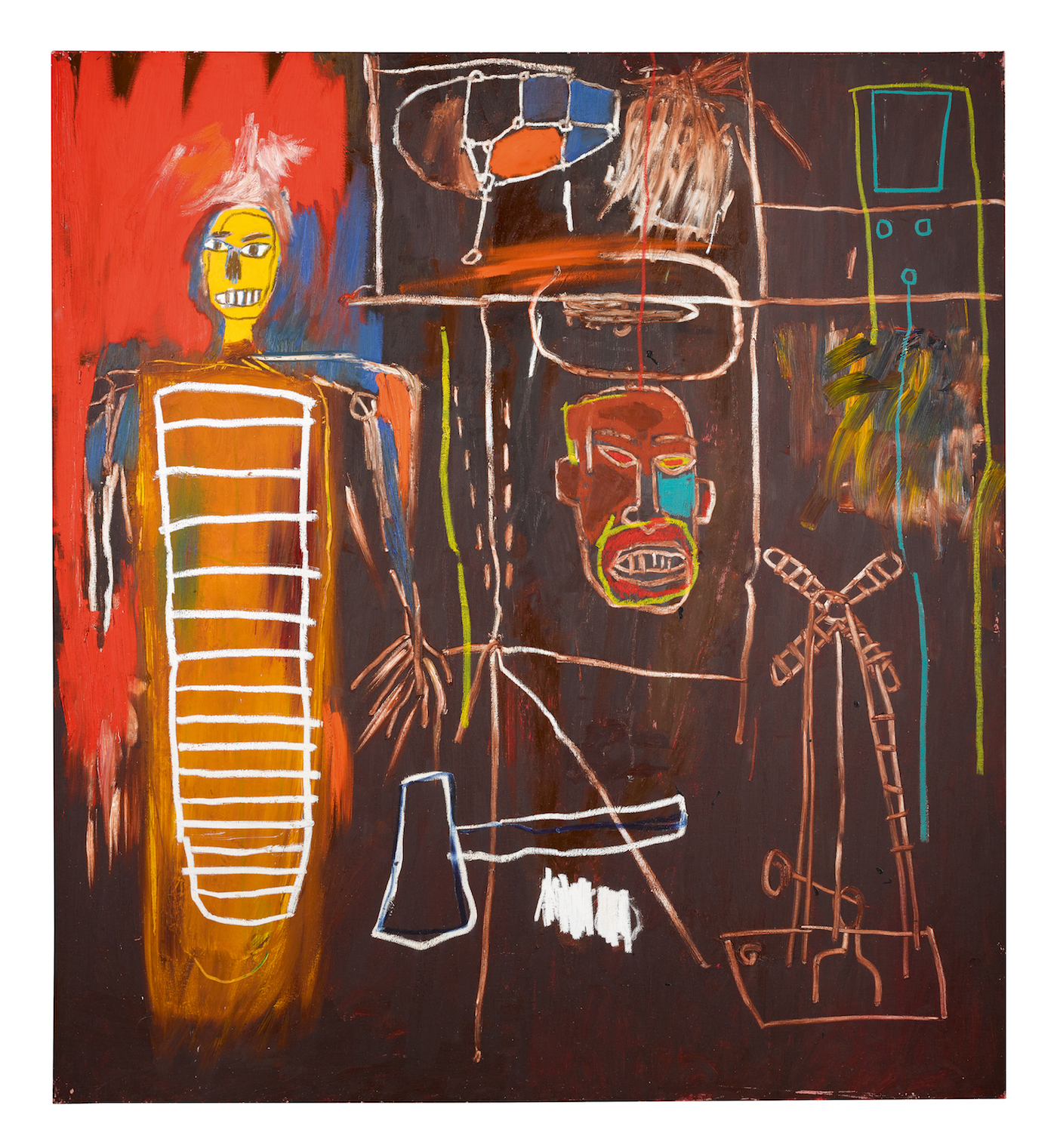 "Jean-Michel Basquiat, ""Air Power"" (1984), selling for £2.5-3.5m (~$3.3-4.7m USD) (all images courtesy Sotheby's)"