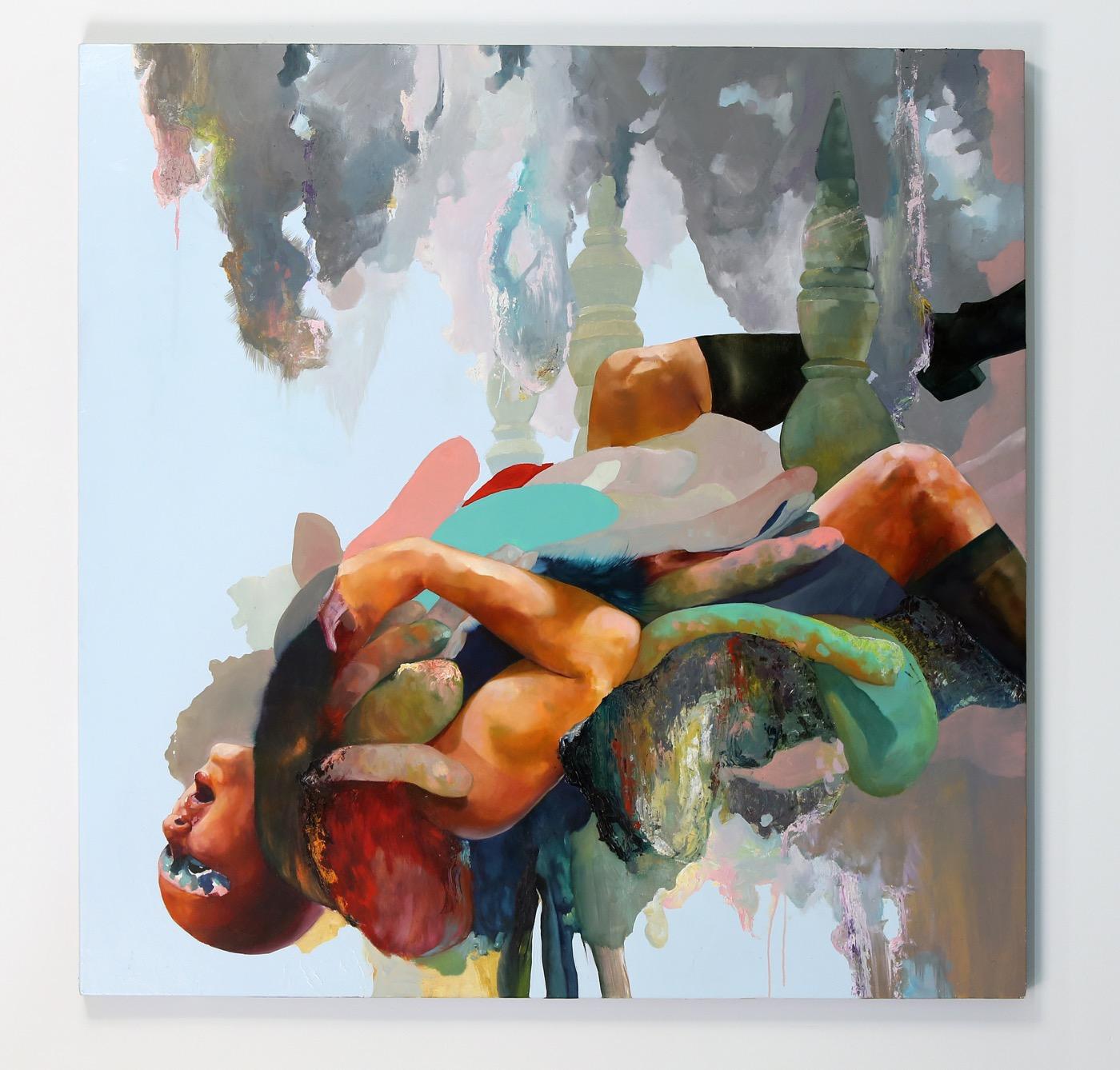 David Antonio Cruz, bybeingcarefulofthecompanyyoukeep, 2016 Oil on wood panel, 48 x 48 in (Courtesythe Artist andGateway Projects)