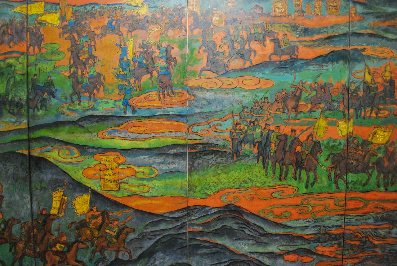 """Quach Phong , """"Sketching Vietnamese History, Phase 1; Tot Dong/Chuc Dong Battles (1426) and Chi Lang/Xuong Giang Battles (1427)"""" (2016), laquer on wood, 1.2 x 7.2m."""