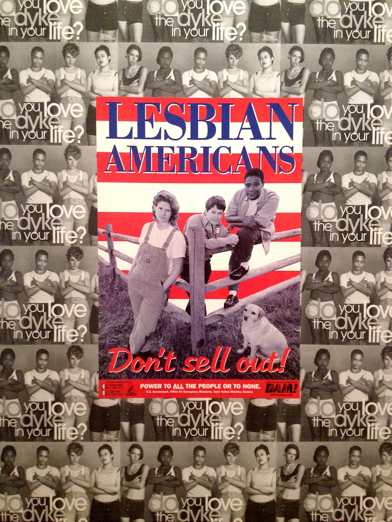 """Posters by Dyke Action Machine (Carrie Moyer and Sue Schaffner), """"Lesbian Americans: Dont Sell Out"""" (1998) and """"Do You Love the Dyke in Your Life?"""" (1993) (photo by Tiernan Morgan for Hyperallergic)"""