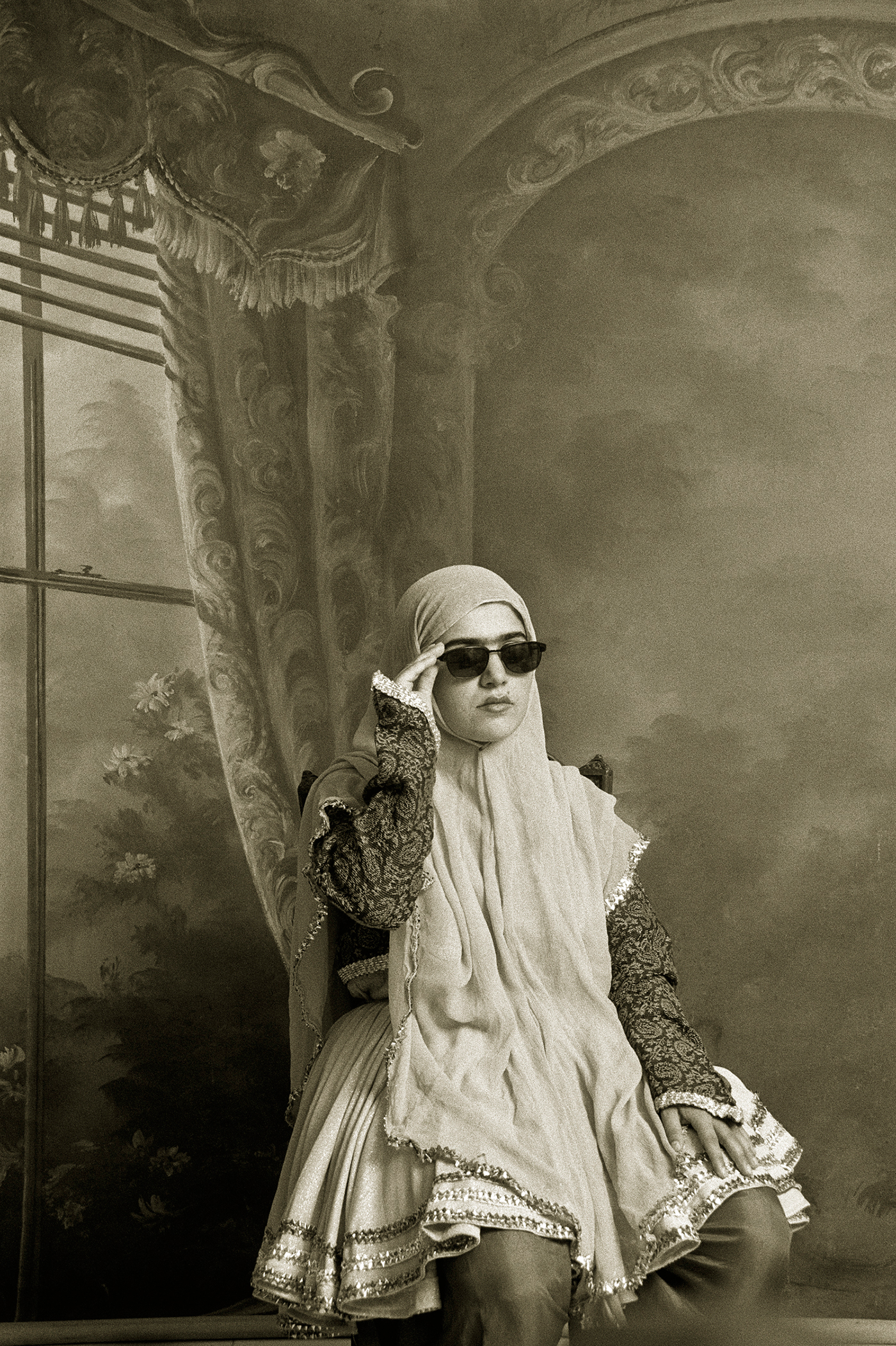 Shadi Ghadirian, wntitled, from the series 'Qajar' (1998), gelatin silver print, 15 3/4 x 11 7/8 in, Museum of Fine Arts, Boston, Museum purchase with the Horace W. Goldsmith Fund for Photography and Abbott Lawrence Fund (© Shadi Ghadirian, photo © 2015 Museum of Fine Arts, Boston)