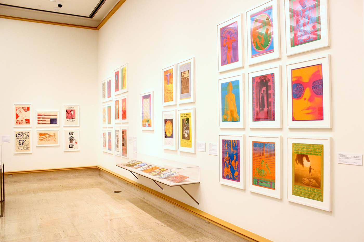 Psychedelic posters and printed matter, installation view