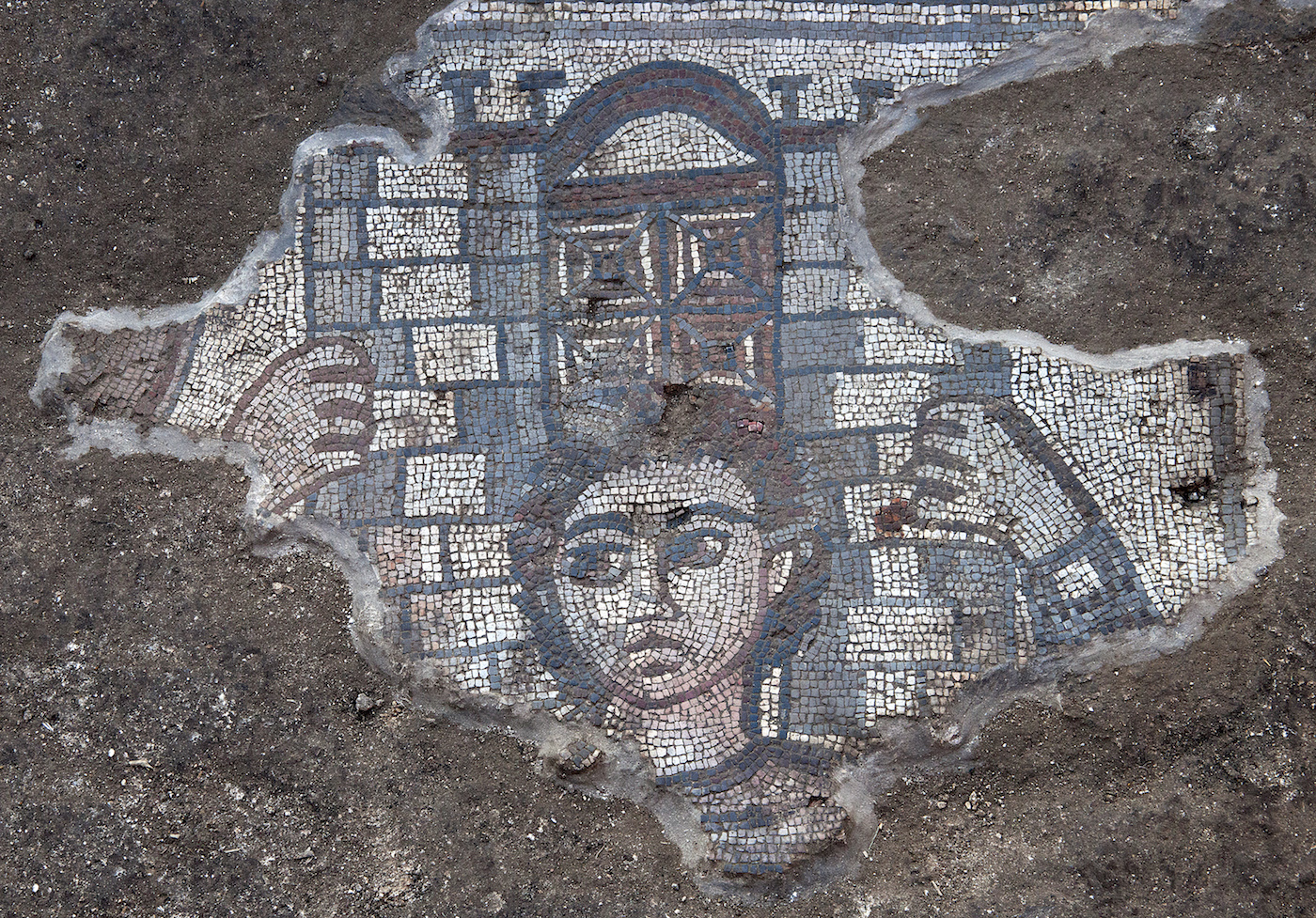 Mosaic showing Samson carrying the gate of Gaza, from the Huqoq excavations, directed by Jodi Magness.