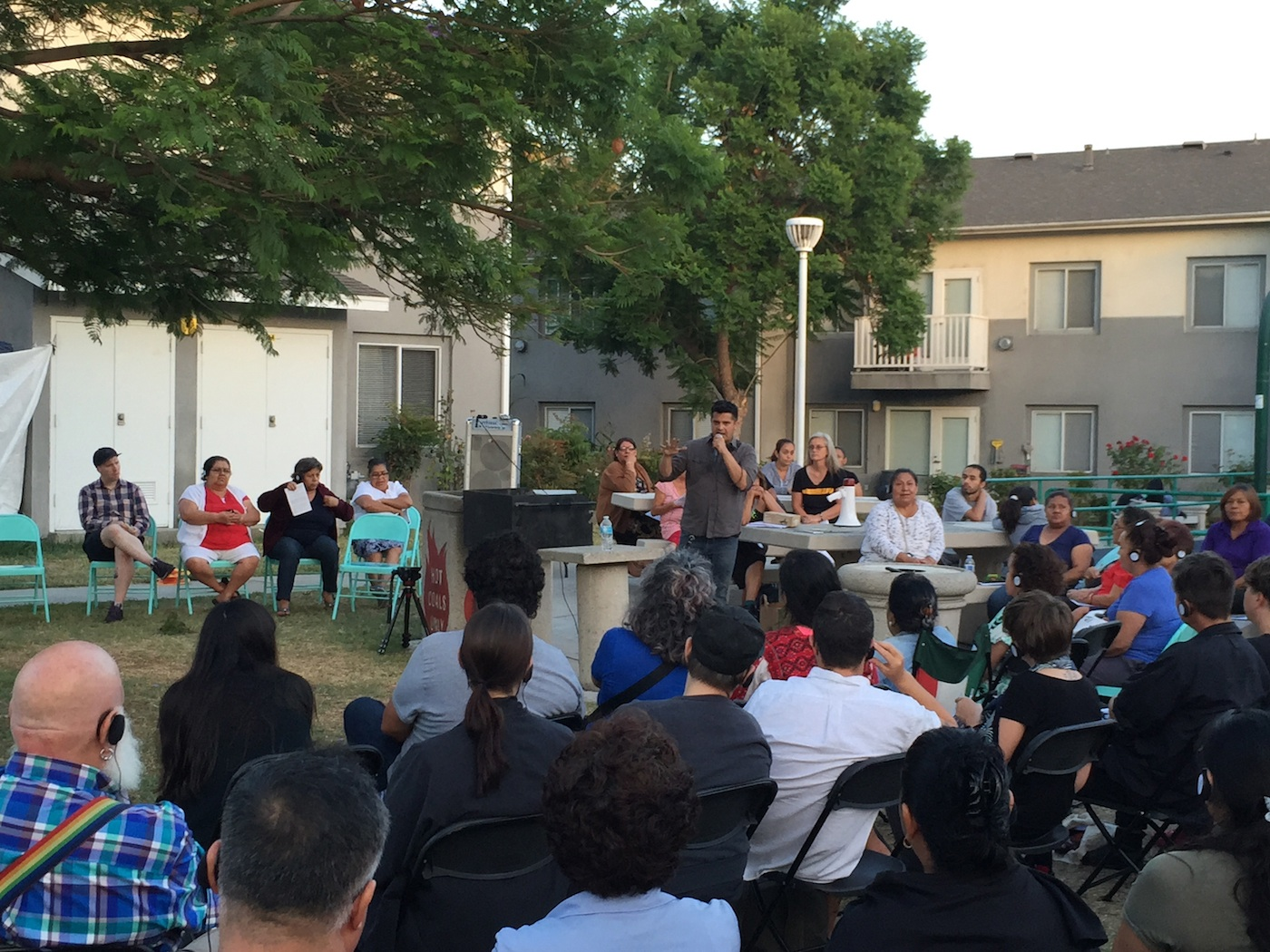 Rigo Amavizca addresses the crowd at Pico Gardens