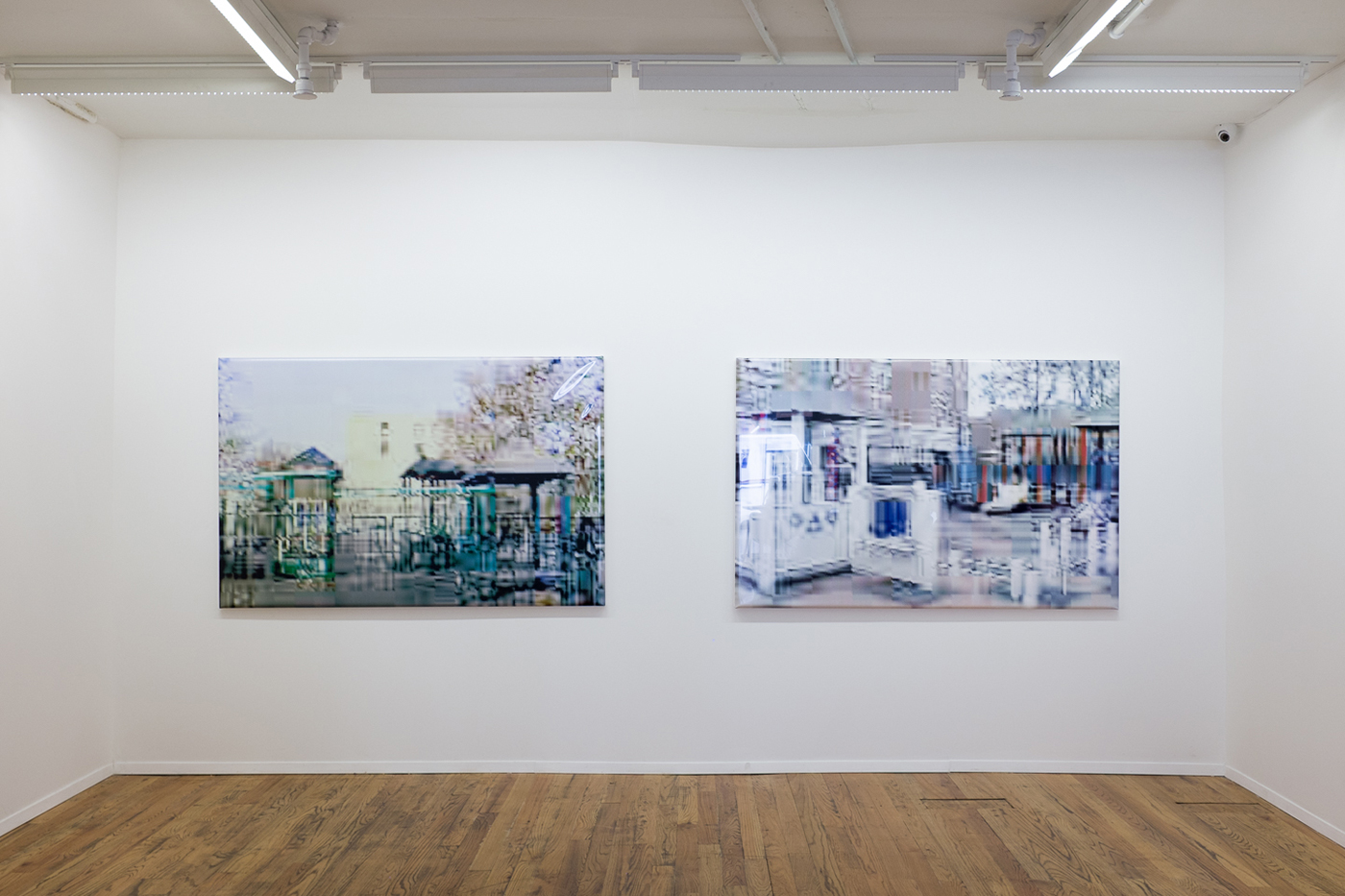 """Olaf Rauh, """"Playground #7"""" and """"Playground #3"""" (2001) (photo by the author for Hyperallergic) (click to enlarge)"""