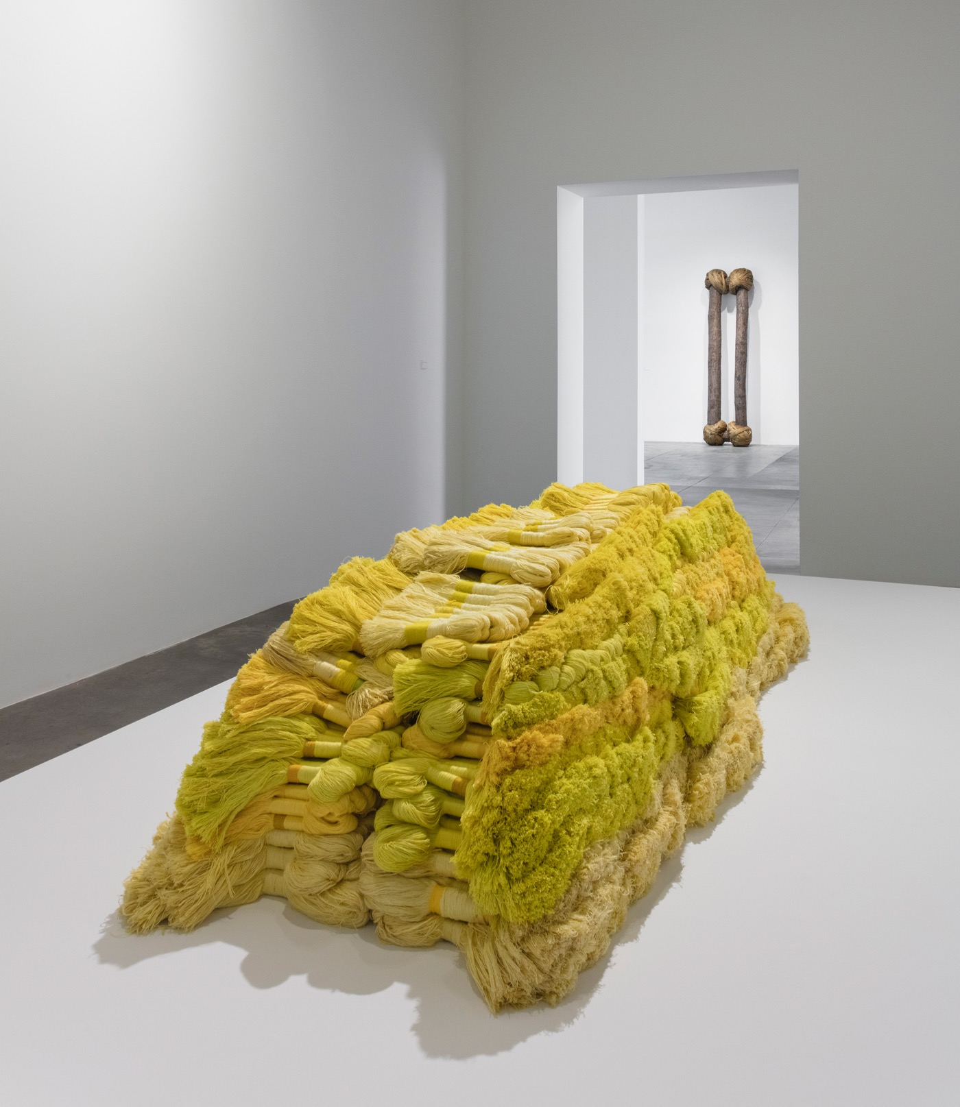 Sheila Hicks, Banisteriopsis, 1965 – 1966 and Banisteriopsis II, 1965 – 1966 / 2010 (Banisteriopsis) The Montreal Museum of Fine Arts, Liliane and David M. Stewart Collection (Banisteriopsis II) The Institute of Contemporary Art, Boston; Gift of the artist in honour of Jenelle Porter, 2012.26 Installation view, 'Revolution in the Making: Abstract Sculpture by Women, 1947 – 2016', Hauser Wirth & Schimmel, 2016 Courtesy the artists and Hauser & Wirth Photo: Brian Forrest
