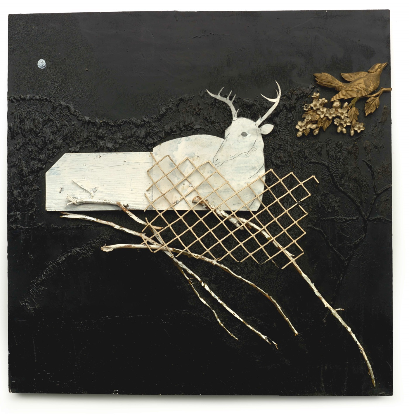 """Ronald Lockett (1965–1998, Bessemer, Alabama) Traps (Golden Bird) Bessemer, Alabama 1990 Chain-link fencing, branches, cut tin, industrial sealing compound, and found plastic bird and berries 48 x 48 x 4"""" Collection of Tinwood LLC, L2015.15.15 Photo by Stephen Pitkin / Pitkin Studio"""