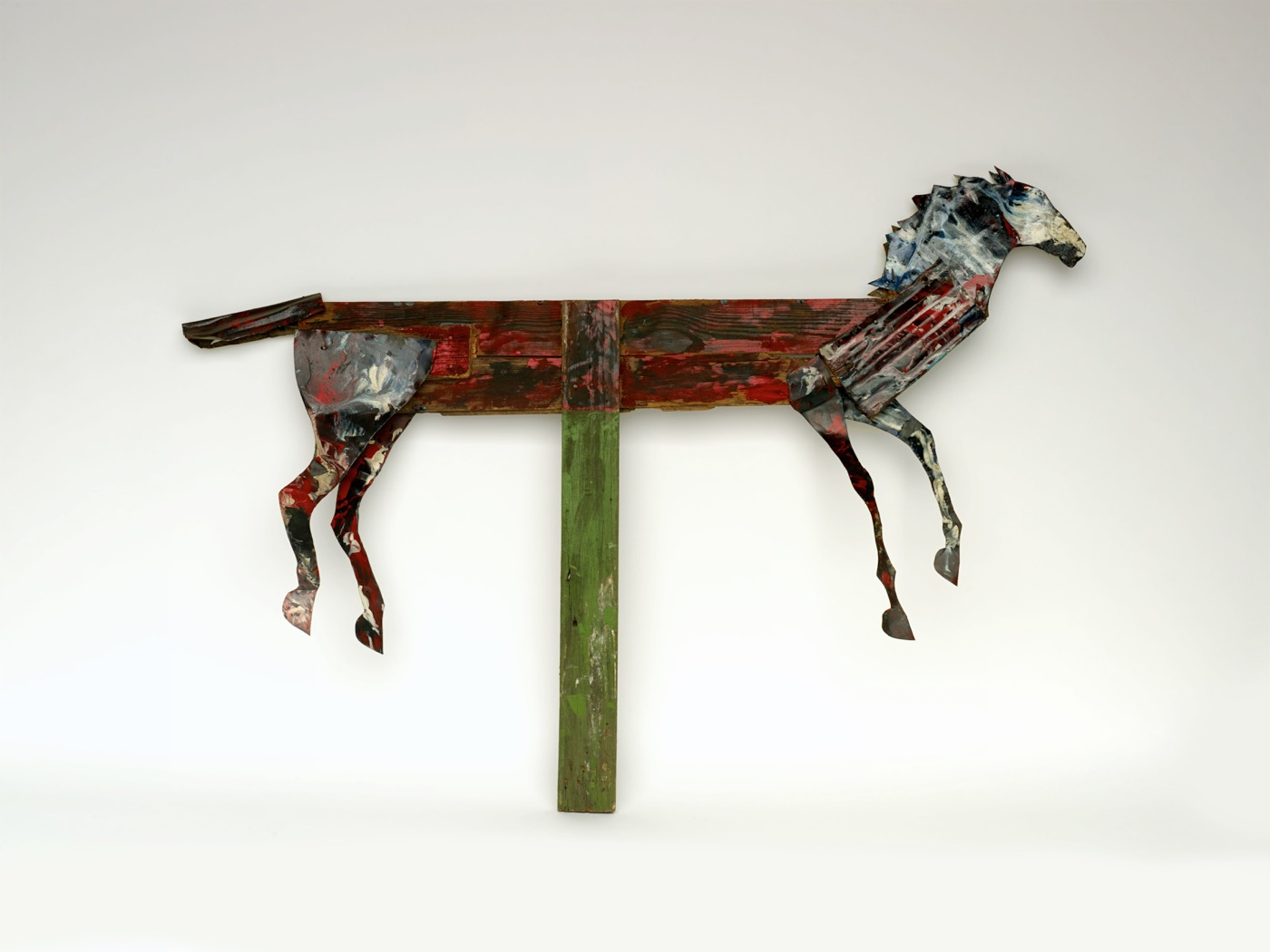"""Ronald Lockett """"Untitled (Horse)"""" (c. 1987) Paint on wood with cut tin and nails 41 x 58 x 3"""" Collection of Tinwood LLC,"""