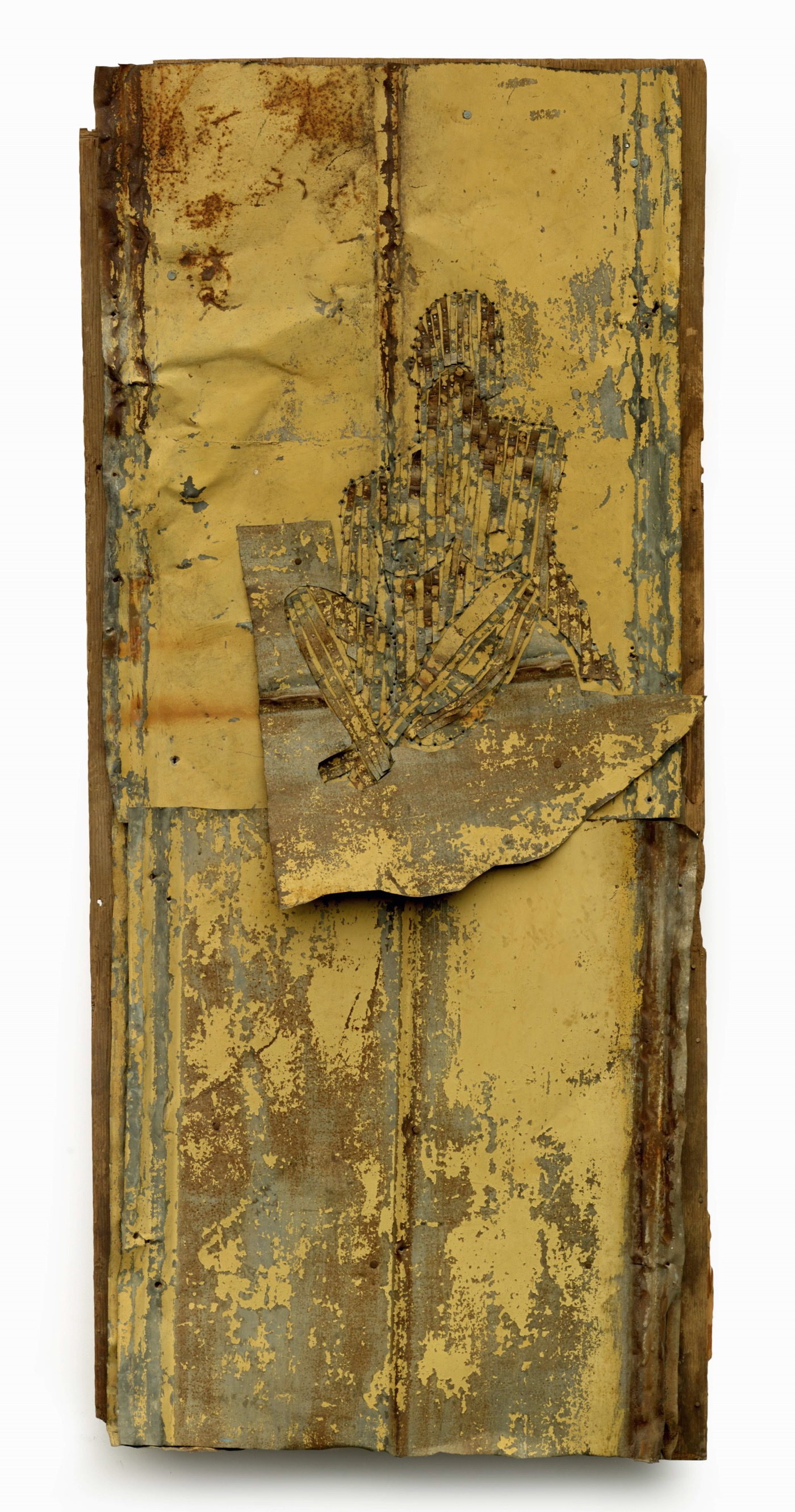 """Fever Within Bessemer, Alabama 1995 Tin, colored pencil, and nails on wood 66 1/2 x 30 x 2"""" Collection of Souls Grown Deep Foundation, L2015.2.1 Photo by Stephen Pitkin / Pitkin Studio"""