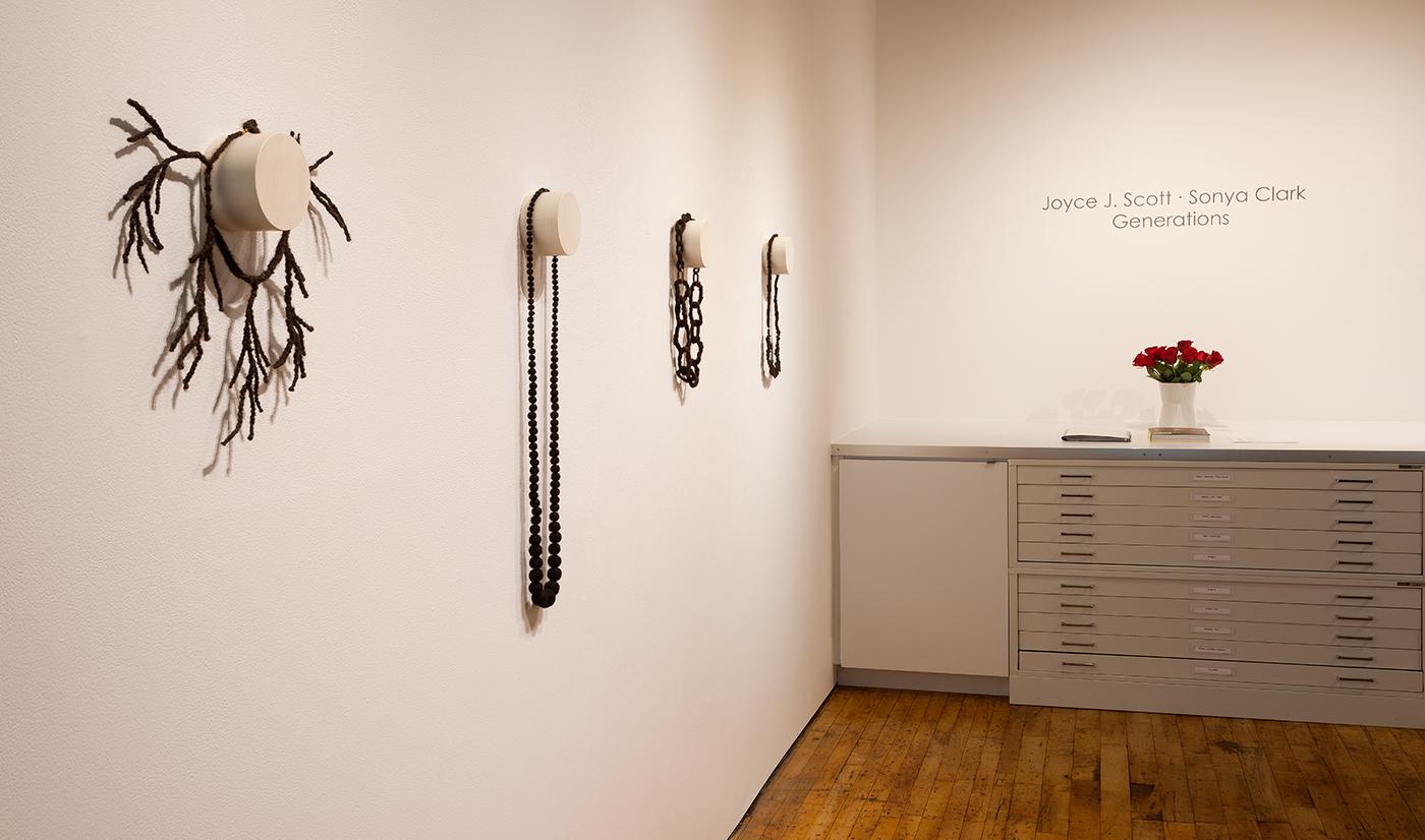 Installation view, 'Generations: Joyce J. Scott | Sonya Clark' at Goya Contemporary Gallery, Baltimore (photo by Joe Hyde, courtesy Goya Contemporary)