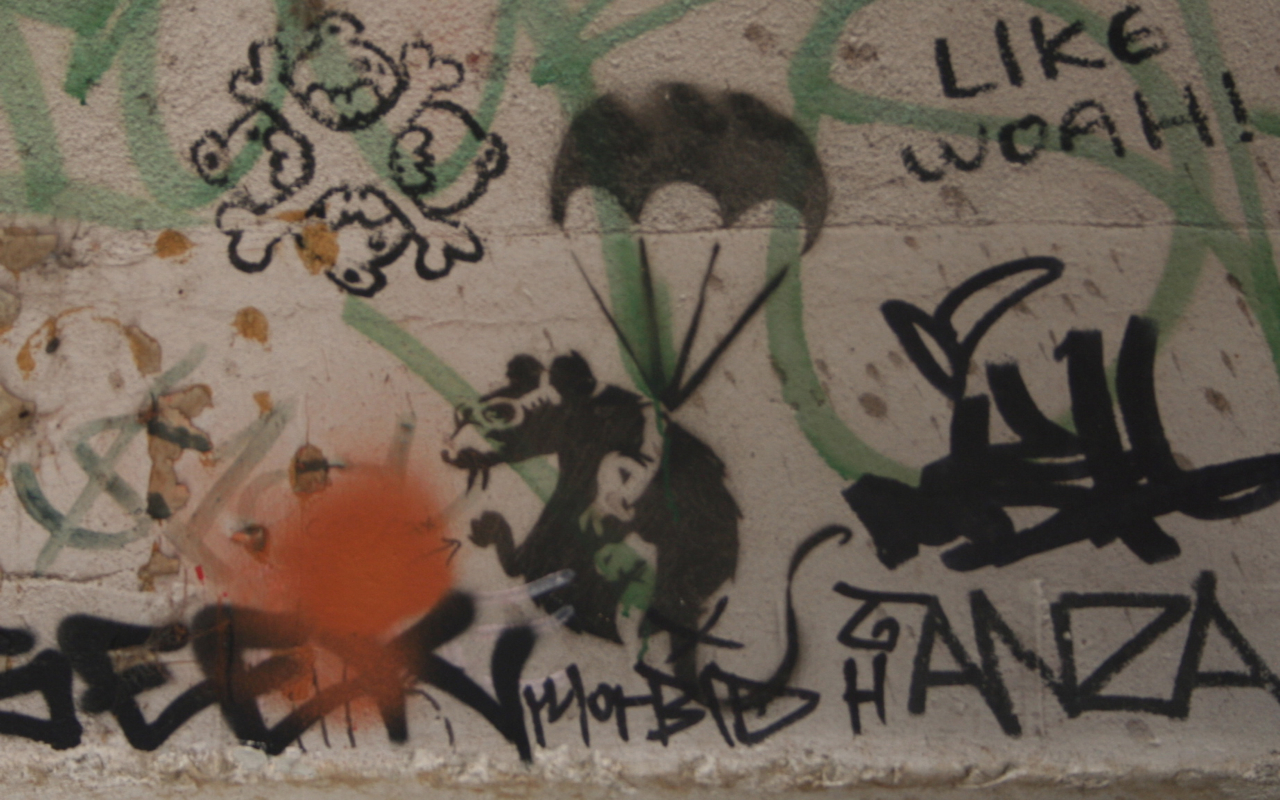 One of the Banksy stencil paintings recently destroyed in Melbourne (photo by Nagarjun Kandukuru/Flickr)