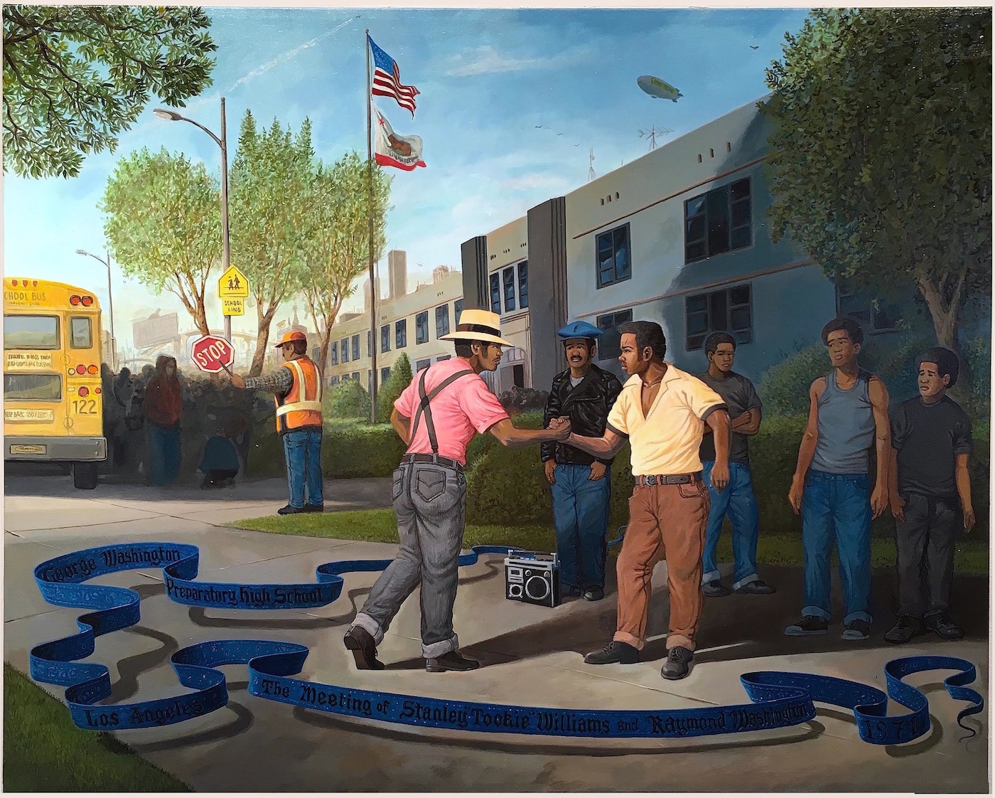 "Sandow Birk, ""The Founding of the Crips (George Washington Preparatory High School - Los Angeles - The Meeting of Stanley 'Tookie' Williams and Raymond Washington - 1971)"" (2015), Acrylic on Canvas, 43 x 54 in. (via cjamesgallery.com)"