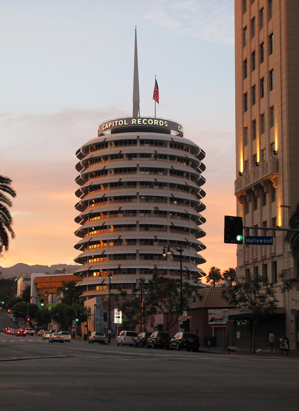 The Capitol Records Building in Los Angeles (photo by Downtowngal/Wikimedia)