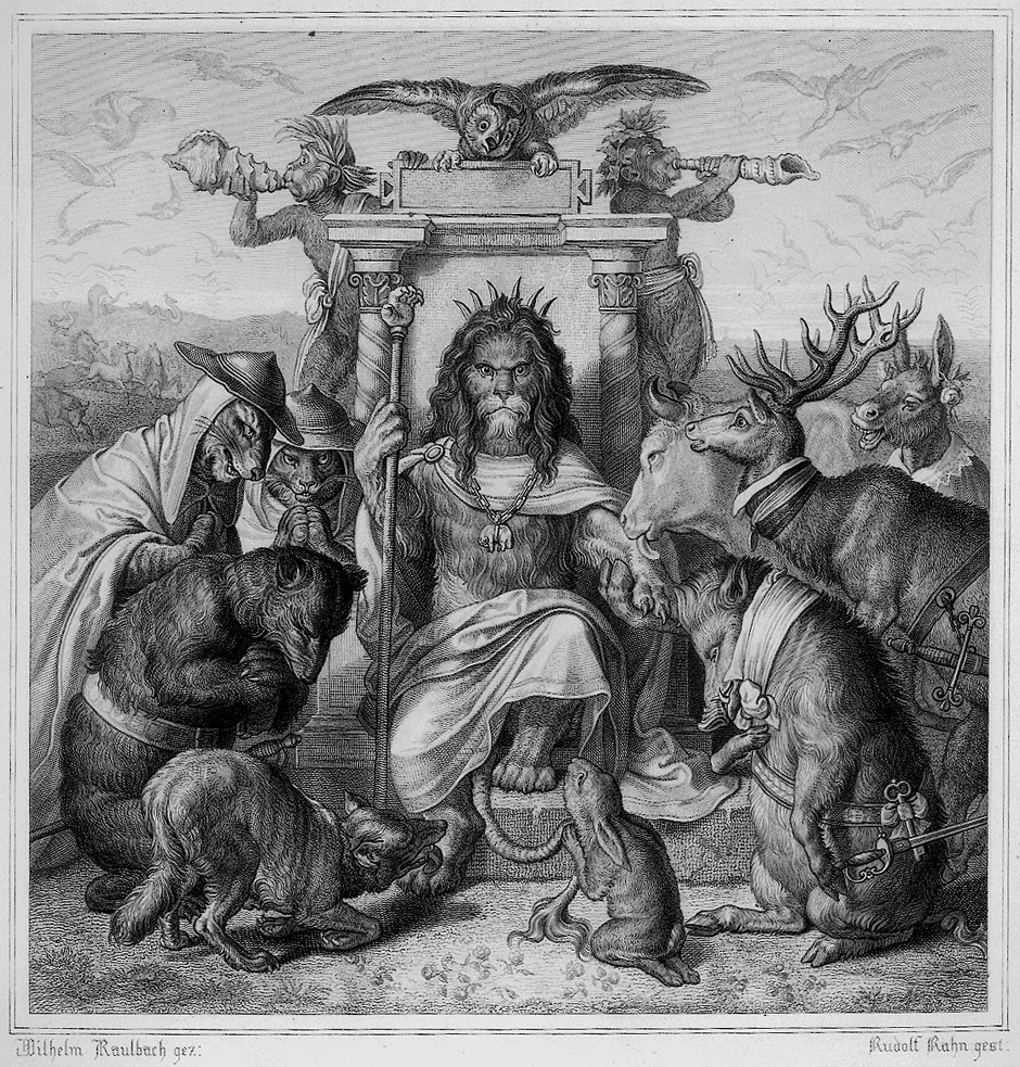 Wilhelm von Kaulbach, illustration for to Goethe's 'Reineke Fuchs' (1846) (via Wikimedia Commons)