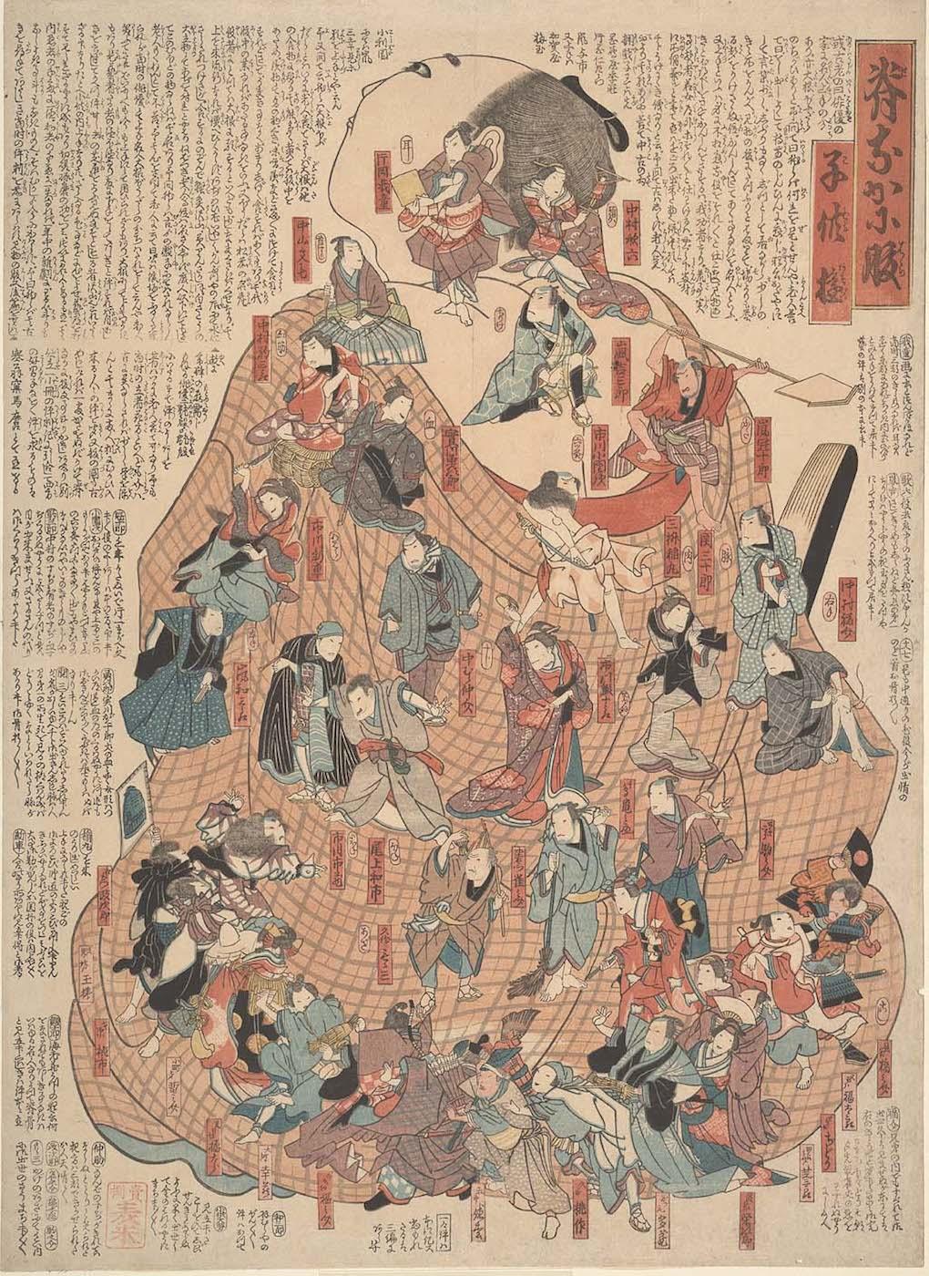 "Unknown artist, ""Back and abdomen, children's games (Senaka ni hara kodomo asobi)"", woodblock (courtesy UC San Francisco, Special Collections)"